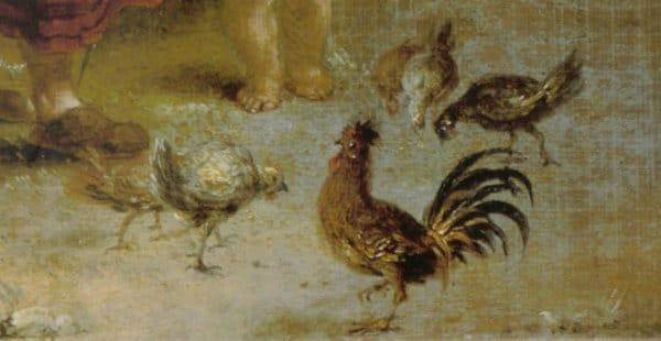 """Particolare dalla pittura ad olio """"Idillio rurale"""" di Januarius Zick (ca. 1775), pittore sud tedesco"""