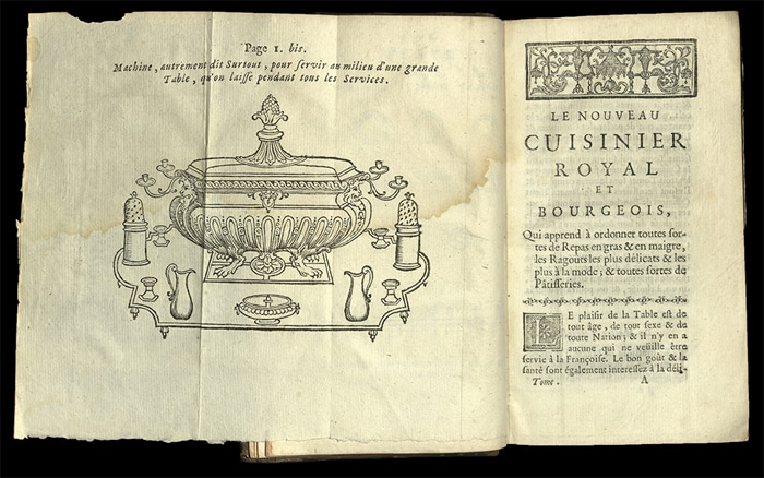 "Una delle pagine del libro ""Nouveau cuisinier royal et bourgeois"" del cuoco François Massialot (1691)"
