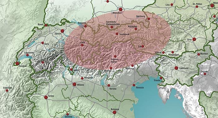 Area geografica di diffusione storica della gallina Tirolese