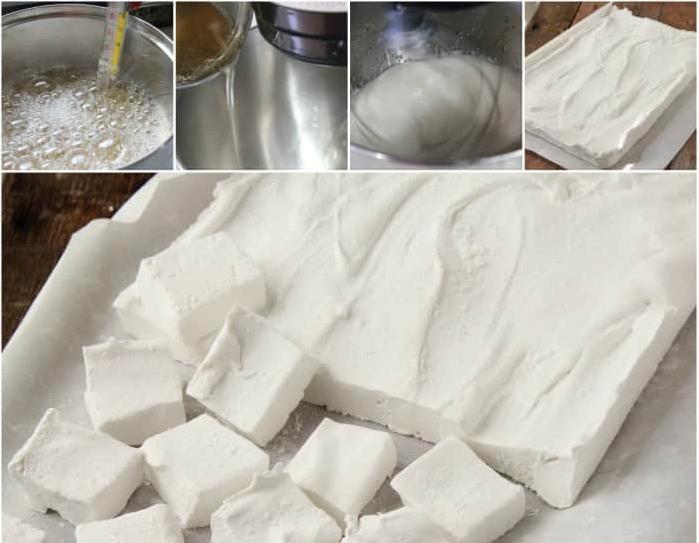 Le fasi della preparazione dei marshmallow