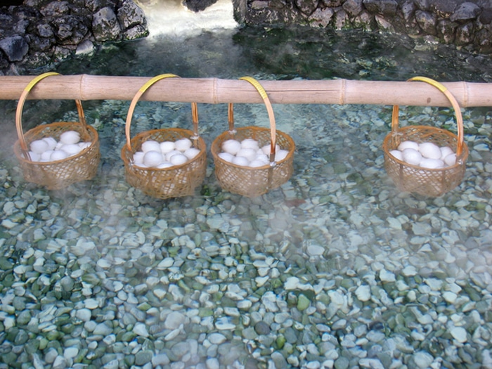 Onsen Tamago cotte alla Kusatsu Onsen a Gunma
