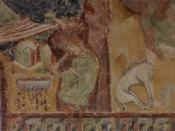 La Knödelesserin (mangiatrice di canederli), 1881 affresco della cappella di Castel d'Appiano